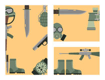 Military weapon guns symbols armor cards forces design and american fighter ammunition navy camouflage sign vector Stock Photography