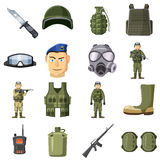 Military weapon icons set, cartoon style Royalty Free Stock Photos