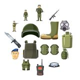 Military weapon icons set, cartoon style. Military weapon icons set in cartoon style. Army equipment set collection vector illustration Royalty Free Stock Photography
