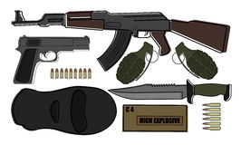 Military weapon pack Royalty Free Stock Images