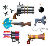 A military weapon set for a computer game. Set of the various weapon for a computer game Stock Photography