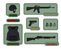 Military weapons icons. Game resources vector illustration