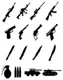 Military weapons icons set Royalty Free Stock Photography