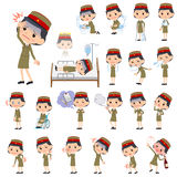 Military wear japan style woman sickness Stock Photography