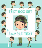 Military wear woman text box Royalty Free Stock Images