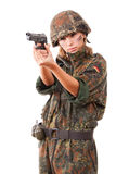 Military woman aiming stock images
