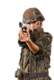 Military woman aiming Stock Image
