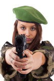 Military woman aiming Royalty Free Stock Photo