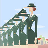 Military woman formation Royalty Free Stock Photos