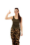 Military woman gesturing ok sign royalty free stock image