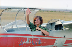 Military woman in glider Royalty Free Stock Image