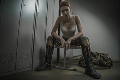 Military woman at locker room Royalty Free Stock Photos