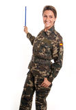 Military woman with a pointer Stock Photos