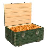 Military wooden ammunition box with rifle bullets, 3D rendering stock illustration