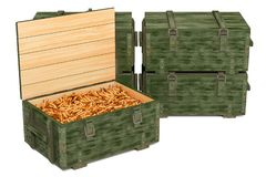 Military wooden ammunition boxes with rifle bullets, 3D rendering royalty free illustration