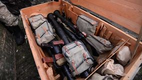 Military wooden box with weapon. stock video footage