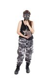 Military young woman wearing gas mask and uniform Royalty Free Stock Images