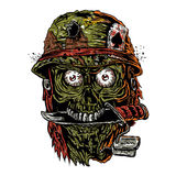 Military zombie with knife in mouth Stock Image
