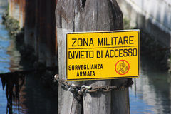 Military Zone Sign Venice Stock Photo