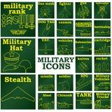 MilitaryiconsGREENplates Stock Photos