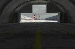 Militay根据,飞机棚,地堡3d回报 免版税库存图片