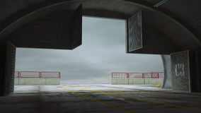 Militay-Basis, Hangar, Bunker innen Stockfotos