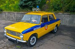 Militia car police. Retro car traffic police state of the Soviet Union's 1980 release Royalty Free Stock Photos