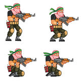 Militia Crouching Sprite. Vector Cartoon of Militia Sprite Sheet for Animation or Game Project Stock Photo