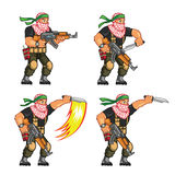 Militia Knife Attack Sprite. Vector Cartoon of Militia Sprite Sheet for Animation or Game Project Stock Photography