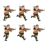 Militia Running Sprite. Vector Cartoon of Militia Sprite Sheet for Animation or Game Project Royalty Free Stock Image