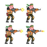 Militia Shooting Sprite. Vector Cartoon of Militia Sprite Sheet for Animation or Game Project Royalty Free Stock Photography