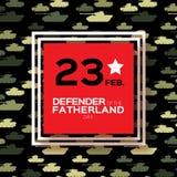 Militär behållare Lycklig försvarare av fäderneslanddagen 23 Februari Royaltyfria Bilder