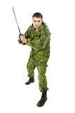 Militär man med bladet Arkivfoton