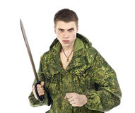 Militär man med kniven Arkivfoto