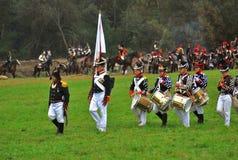 Militär orkester på Borodino 2012 historiska reenactment Royaltyfria Bilder
