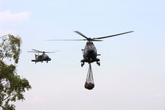 MilitärApache führt ein Pumatransport heli Stockbilder