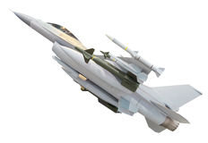 Militärdüsenflugzeug mit der vollen Waffenrakete lokalisiert auf Weiß Stockbild