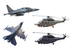 Militärflugzeug lokalisiert auf weißem Hintergrund Lizenzfreie Stockfotos