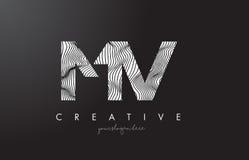 Milivolt M V Letter Logo com linhas vetor da zebra do projeto da textura Foto de Stock Royalty Free