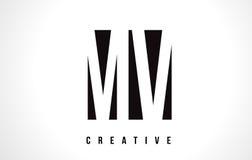 Milivolt M V White Letter Logo Design com quadrado preto Fotos de Stock
