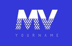Milivoltio M V Dotted Letter Logo Design con el fondo azul Imagen de archivo libre de regalías