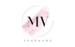 Milivoltio M V Watercolor Letter Logo Design con el modelo circular del cepillo Imagen de archivo libre de regalías