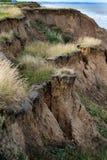 Miljö- erosion av leraklippaframsidan Arkivbild