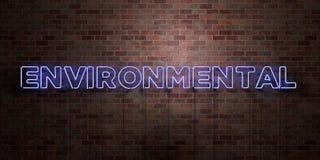 MILJÖ- - fluorescerande tecken för neonrör på murverk - främre sikt - 3D framförde den fria materielbilden för royalty royaltyfri illustrationer