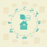 Miljö infographic beståndsdelar för ekologi Miljö- risker, Royaltyfria Bilder