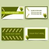 Miljö- mall för riktningsaffärskort, vit grön färg för natur stock illustrationer