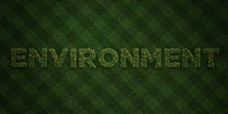 MILJÖ - nya gräsbokstäver med blommor och maskrosor - 3D framförd fri materielbild för royalty stock illustrationer