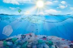 Miljö- vattenförorening plast- Räddningekologibegrepp royaltyfria foton