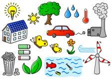Miljöbelastning och uppsättning för gräsplanenergisymbol Arkivbilder