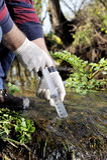 Miljöbelastningstudie av en vattenkurs arkivbilder